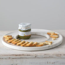 Load image into Gallery viewer, Circular Marble Cheese + Cracker Tray Side View