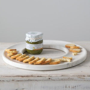 Circular Marble Cheese + Cracker Tray Side View