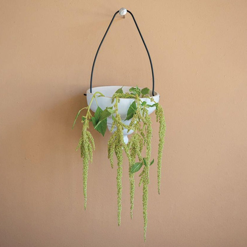 Matte White Terracotta Hanging Planter with hanging plant