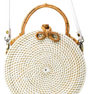 White Milly Rattan Bag front view