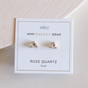 Mini Rose Quartz Energy Studs