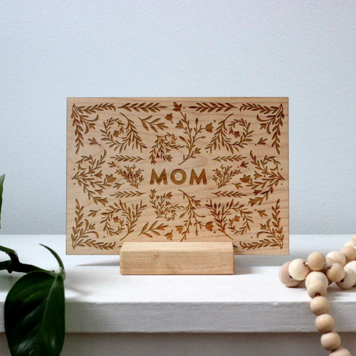 Boho Floral Mom - Wooden Greeting Card on stand