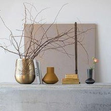 Load image into Gallery viewer, Textured Metal Vase in Mustard on mantle