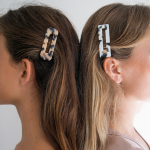 Tortoise Barrette Shown on Girls with side swept hair