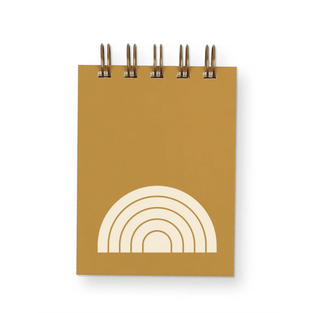 Rainbow Mini Jotter Notebooks with saffron colored cover