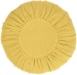 "18"" Round Cotton Pillow in Mustard"