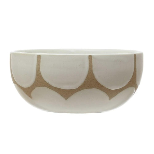 Stoneware Bowl with Hand-Painted Scallop Design