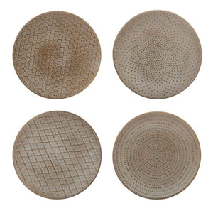 "Cream 8"" Patterned Stoneware Plates"