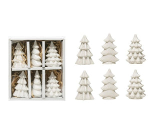 These adorable White stoneware trees come in an assorted boxed set of 6 to decorate anywhere for the holiday!