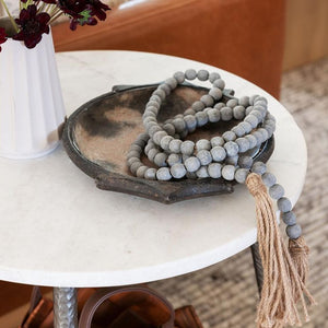 Grey Beaded Garland with Tassels