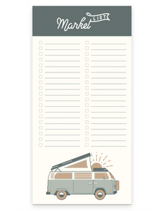 Wanderer Market List Notepad of Lined Sheets with VW Beach Van Illustration