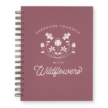 "Load image into Gallery viewer, Wildflowers Journal : Lined Notebook in Wild Berry Color. Notebook says ""Surround Yourself with Wildflowers"""