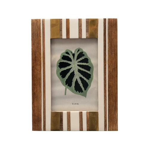 Ivory and Wood Striped Photo Frame