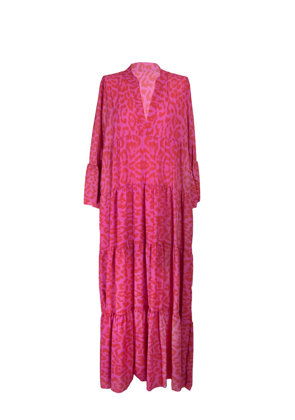 "Maxi-Kleid ""Hippy"" pink/roter Leoprint"