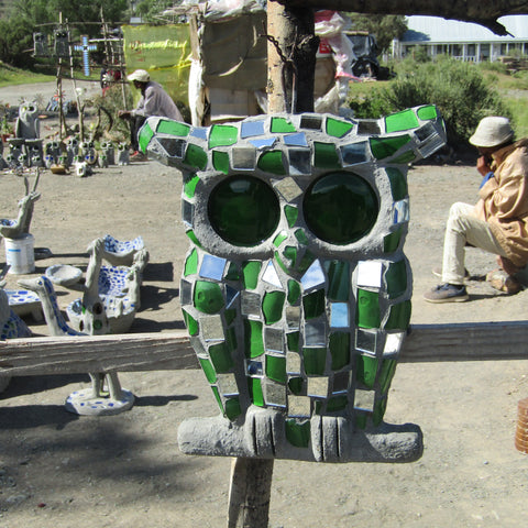 Cement/Glass Hanging Mosaic Owl Figure (GREEN)