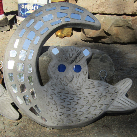 Cement/Glass Wall Owl