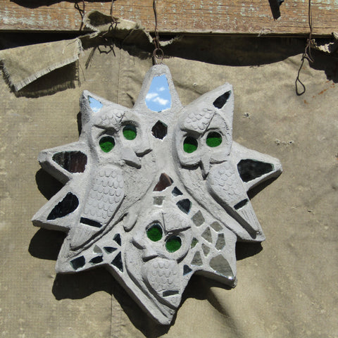 Cement/Glass Wall Owl Star