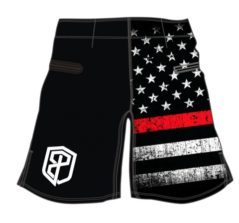 American Defender Shorts 2.0 Thin Red Line Firefighter Edition