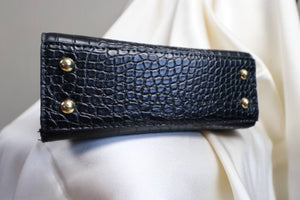 Black croco bag | 1980's vintage