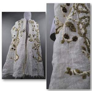 Linen embroidered scarf | 2000's vintage