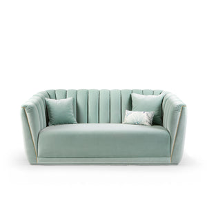 Alva Green Art Deco Sofa