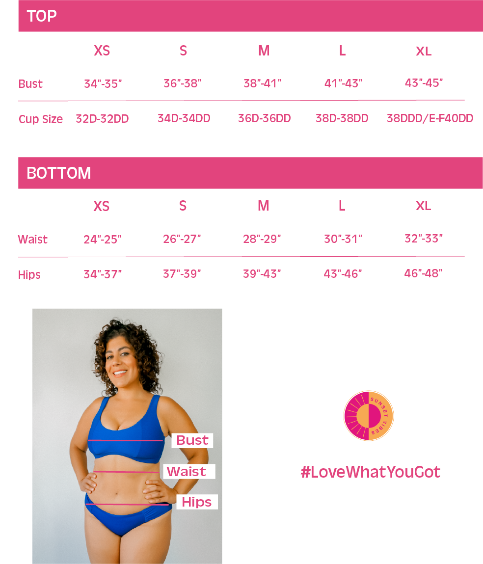 Sunset Vibes Swimwear size chart offering D cup to DDD and larger!