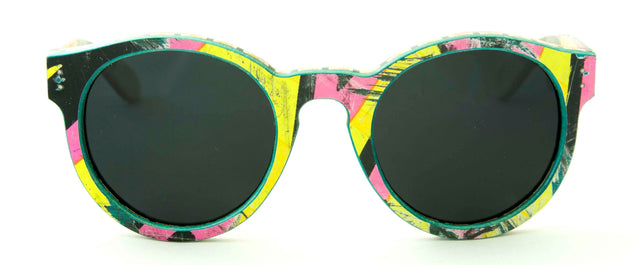 Handmade wooden sunglasses from upcycled skateboards.