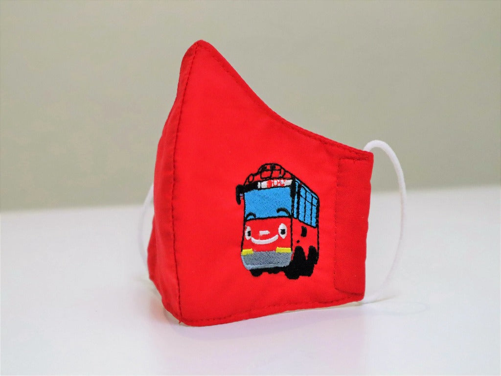 Red Bus Embroidered Facemask