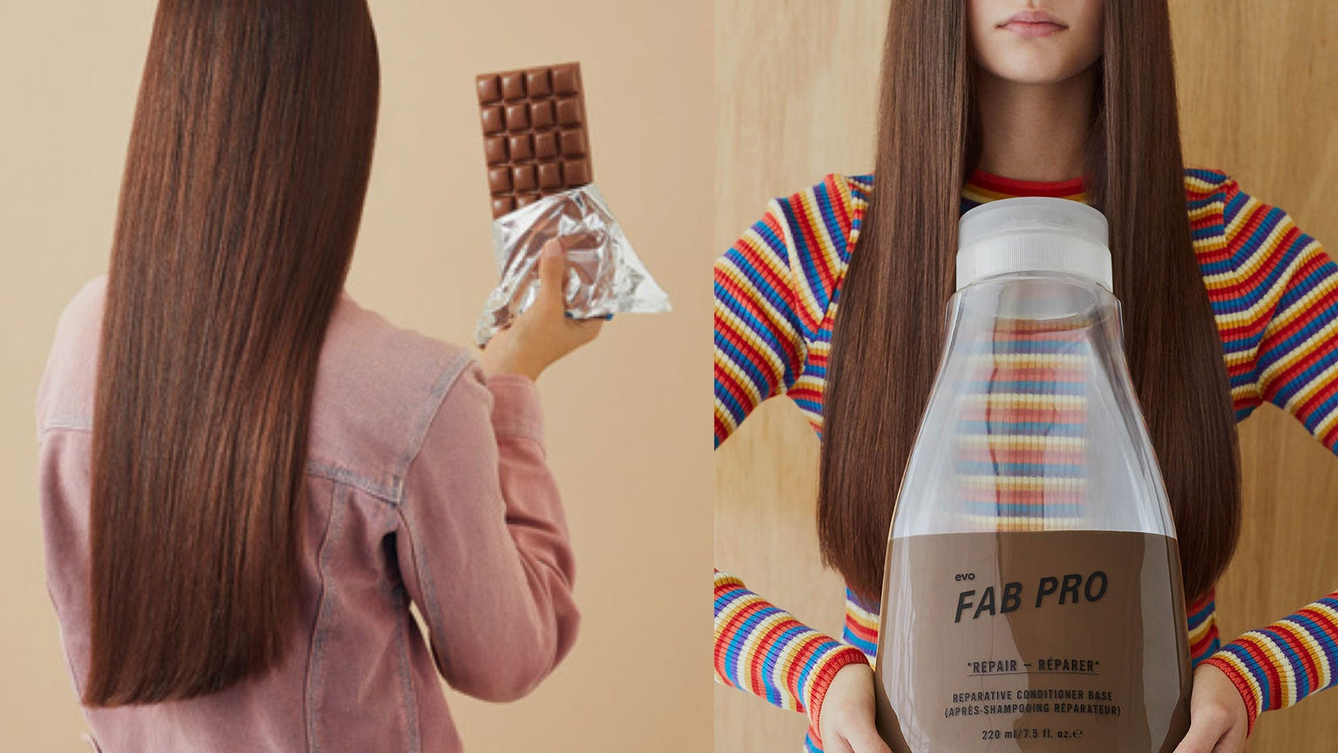a lady with a long brown-hair holding a huge bottle of cool brown fab pro product
