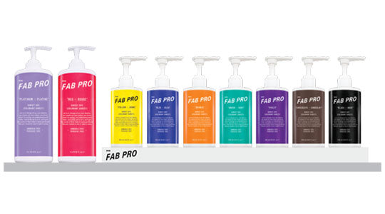 two big and seven regular bottles of fabuloso pro in different colours