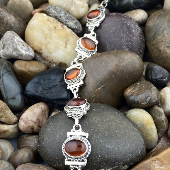 Amber bracelet set in 925 Sterling Silver