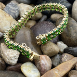 Gold Finish Chrome Diopside bracelet set in 925 Sterling Silver