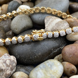 Gold Finish Diamond bracelet set in 925 Sterling Silver