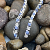 Tanzanite and Diamond bracelet set in 925 Sterling Silver