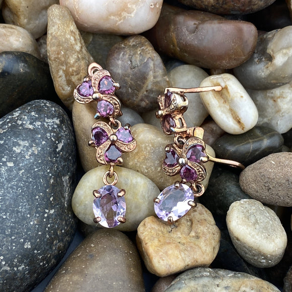 Gold Finish Amethyst and Rhodolite Garnet earrings set in 925 Sterling Silver