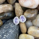 Amethyst and White Topaz earrings set in 925 Sterling Silver