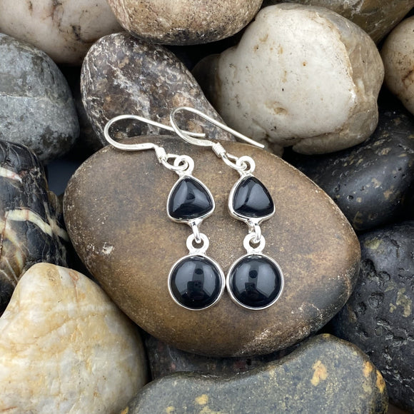 Black Onyx earrings set in 925 Sterling Silver