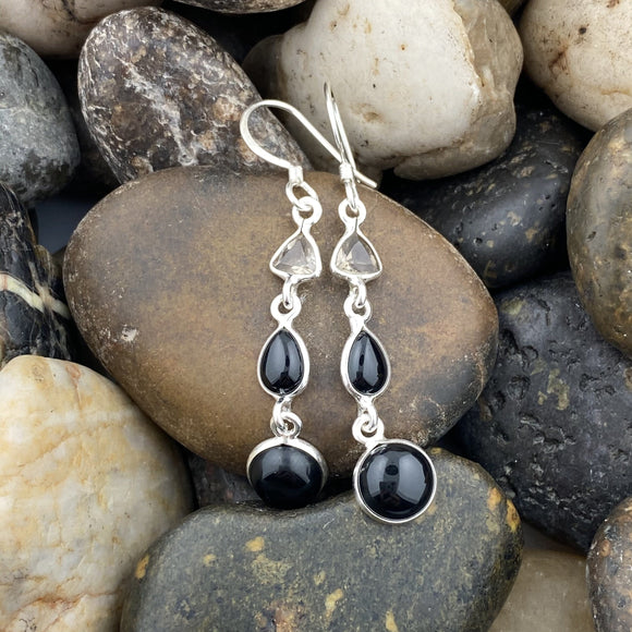 Black Onyx and Smoky Quartz earrings set in 925 Sterling Silver