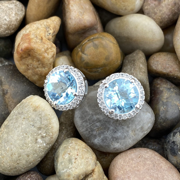 Blue Topaz and White Topaz earrings set in 925 Sterling Silver