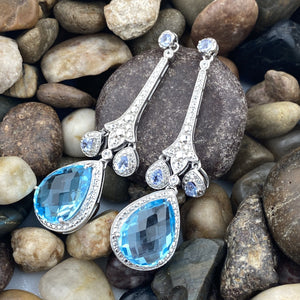 Blue Topaz, Tanzanite and White Topaz earrings set in 925 Sterling Silver