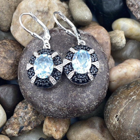 Blue Topaz and Spinel earrings set in 925 Sterling Silver