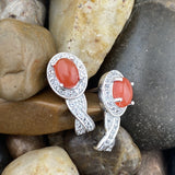 Carnelian and White Topaz earrings set in 925 Sterling Silver