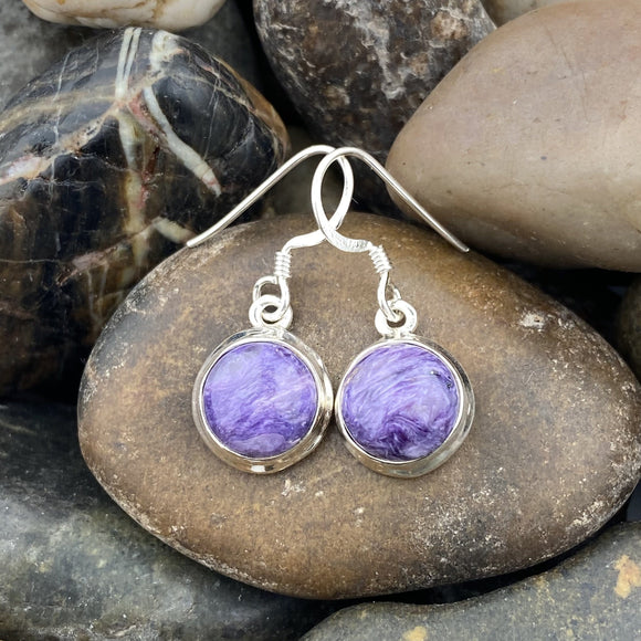 Charoite earrings set in 925 Sterling Silver