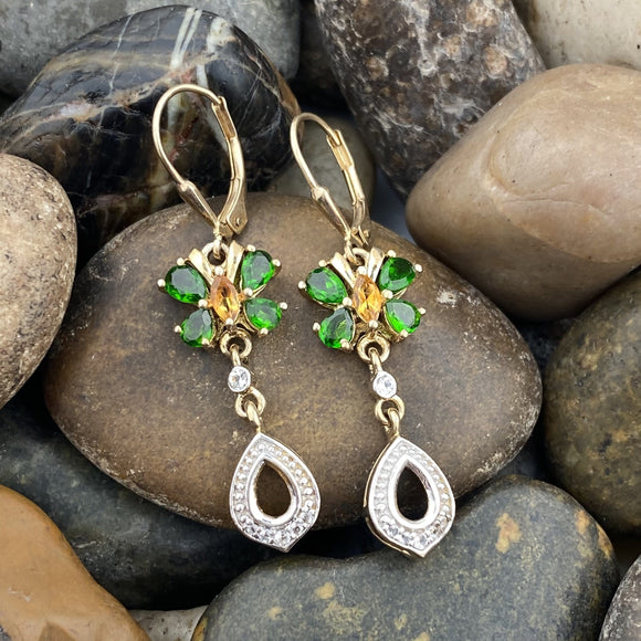 14K Gold Vermeil Chrome Diopside, Citrine and White Topaz Butterfly earrings set in 925 Sterling Silver