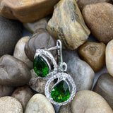 Chrome Diopside and White Topaz earrings set in 925 Sterling Silver