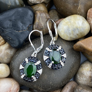 Chrome Diopside and Spinel earrings set in 925 Sterling Silver