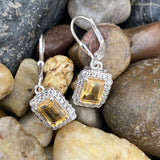 Citrine and White Topaz earrings set in 925 Sterling Silver