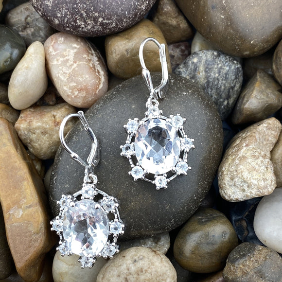 Crystal Quartz earrings set in 925 Sterling Silver
