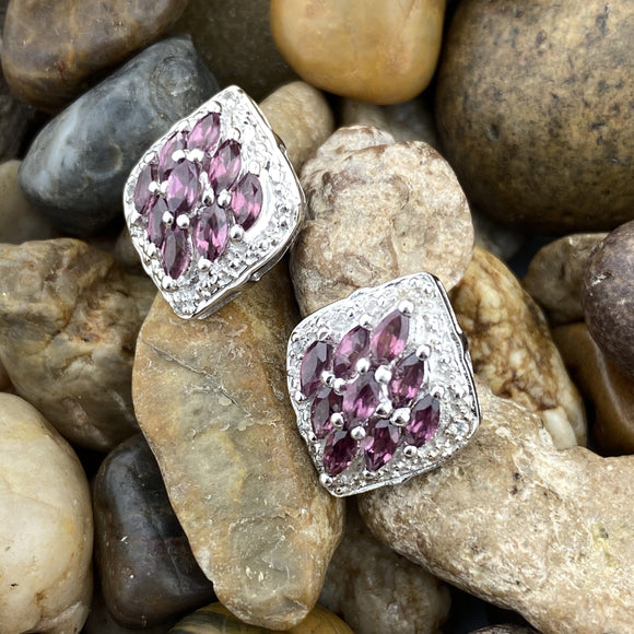 Rhodolite Garnet and White Topaz earrings set in 925 Sterling Silver