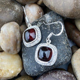 Garnet and White Topaz earrings set in 925 Sterling Silver